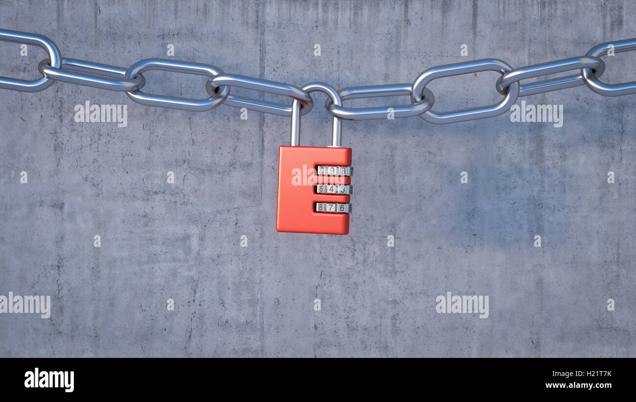 Combination lock connecting chains, 3D Rendering - Stock Image