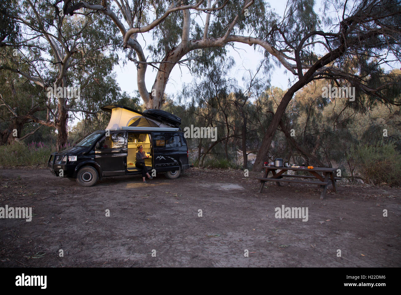 Trakka Campervan at a bend on the Darling River Camp 32 Kinchega National Park New South Wales Australia - Stock Image