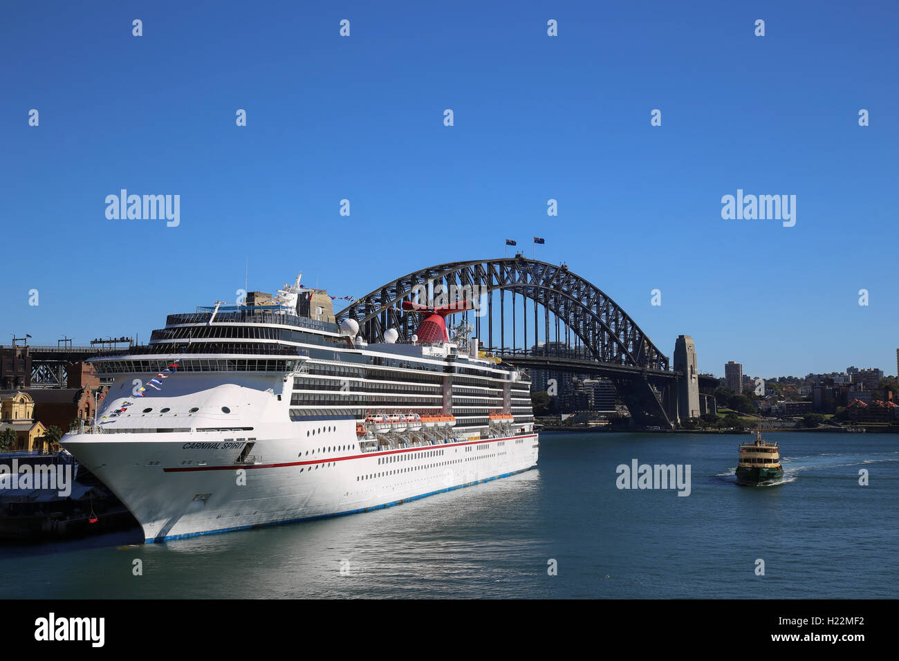 The luxury cruise ship Carnival Spirit berthed at the Overseas Passenger Terminal Sydney New South Wales Australia Stock Photo
