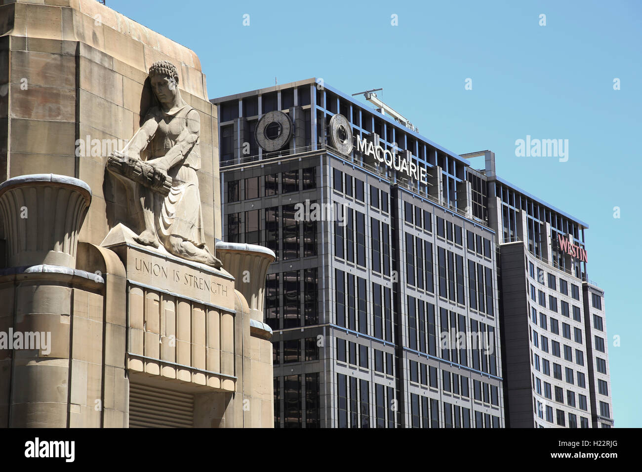 'Union is strength' former MLC building Martin Place Sydney Australia - Stock Image
