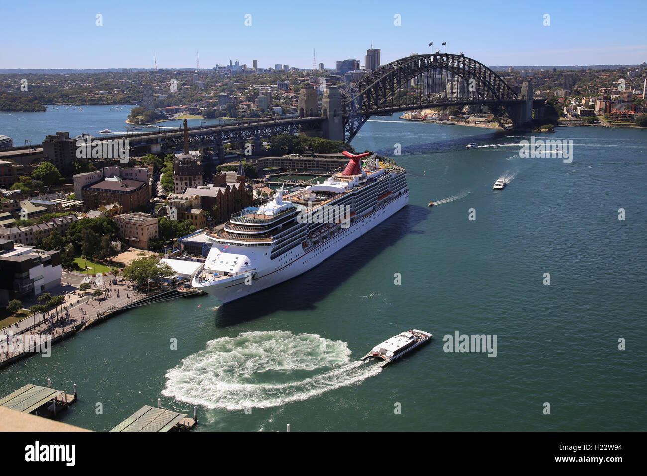 Luxury cruise ship the Carnival Spirit berthed at the Overseas Passenger Terminal Circular Quay Sydney Australia - Stock Image