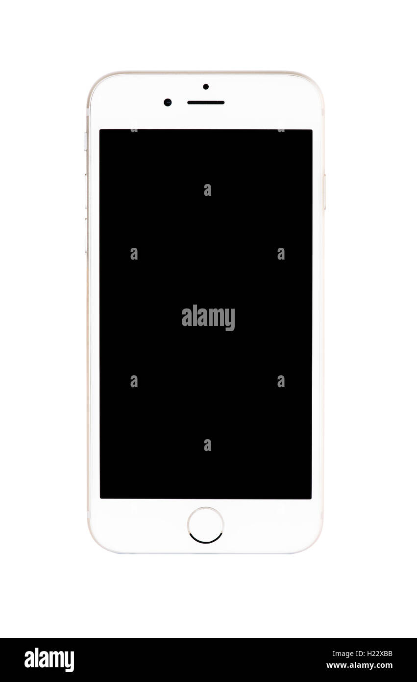 Realistic modern smart iphon with gold color isolated. - Stock Image