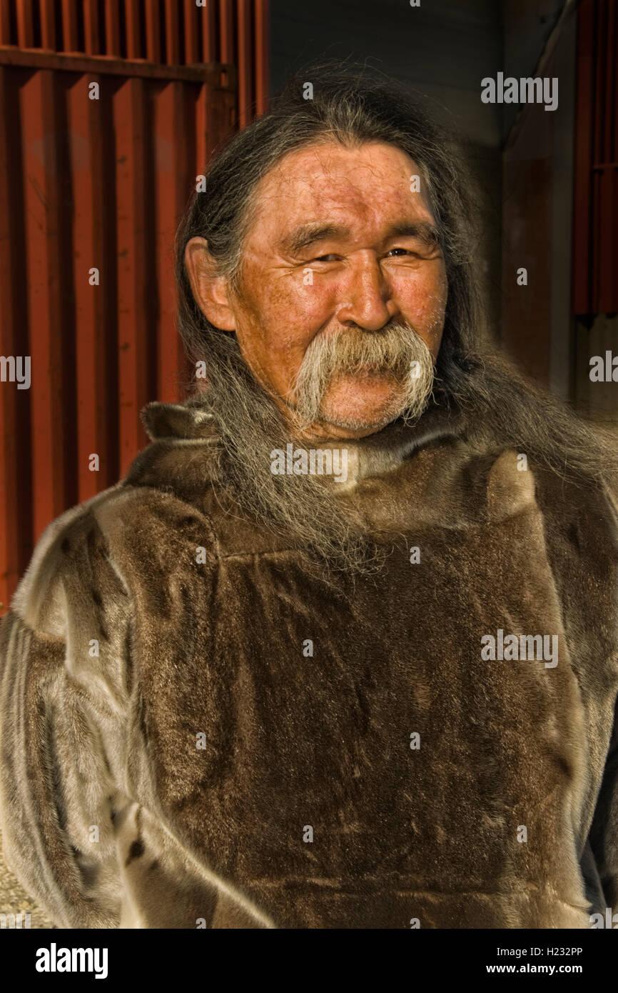 EUROPE, GREENLAND,  Kujalleq Municipality, Nanortalik (Place of Polar Bears), Inuit man in traditional dress - Stock Image