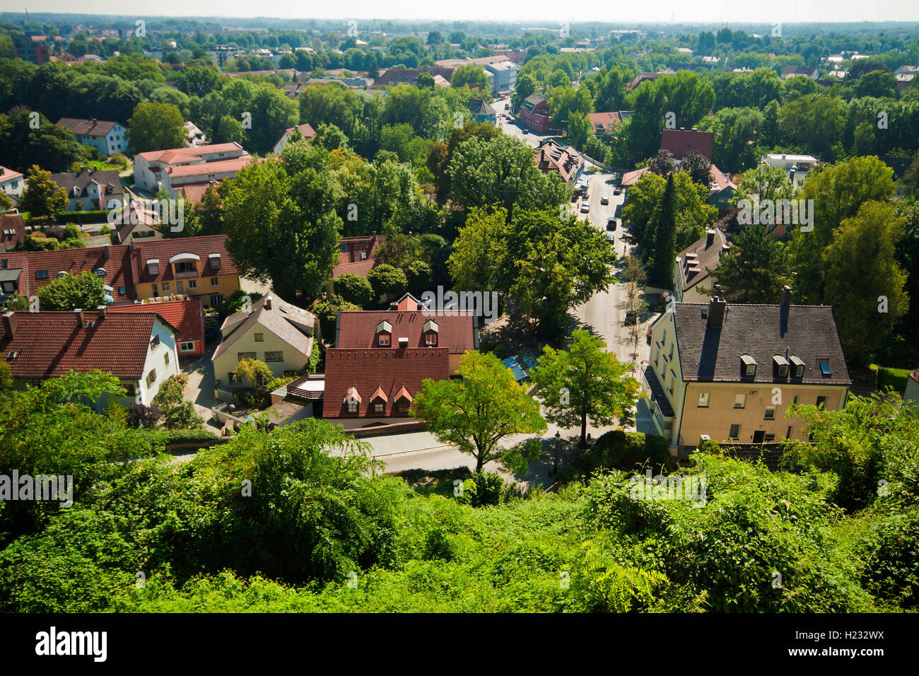 Bavarian landscape, aerial view of houses in the green - Stock Image