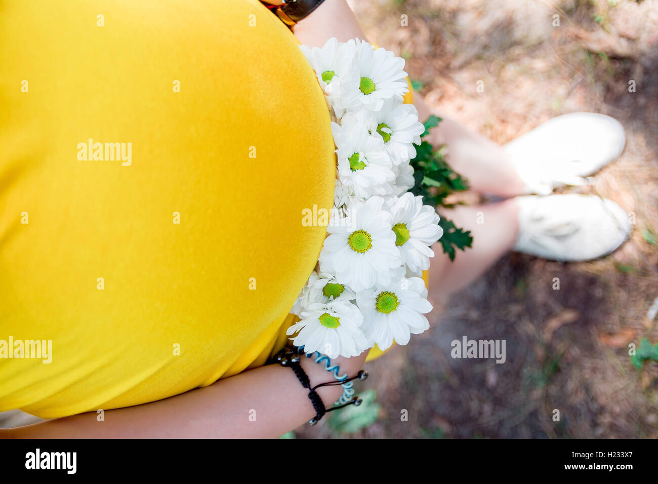 Close up on tummy of pregnant woman, wearing yellow dress, holding in hands bouquet chamomile flowers outdoors, - Stock Image