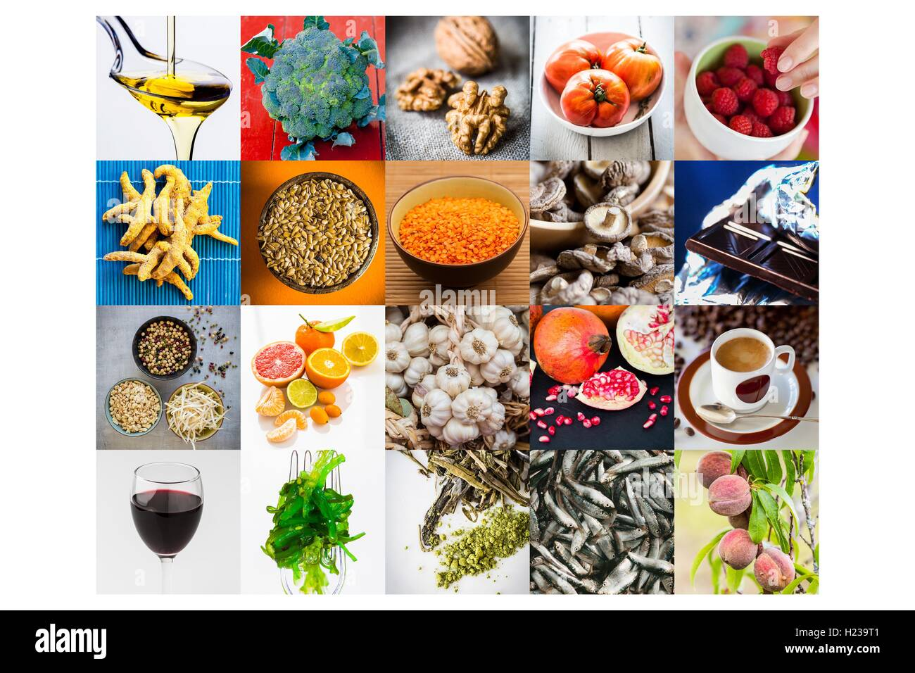 Assortment of food recommended in prevention of cancer. - Stock Image