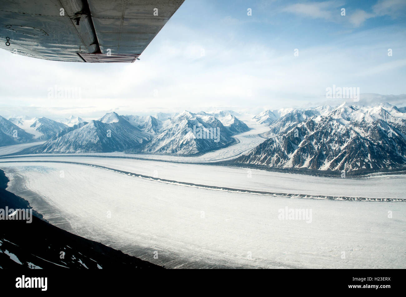 An aerial view of the Kaskawulsh glacier in Kluane National Park in the Yukon Territory, Canada. - Stock Image