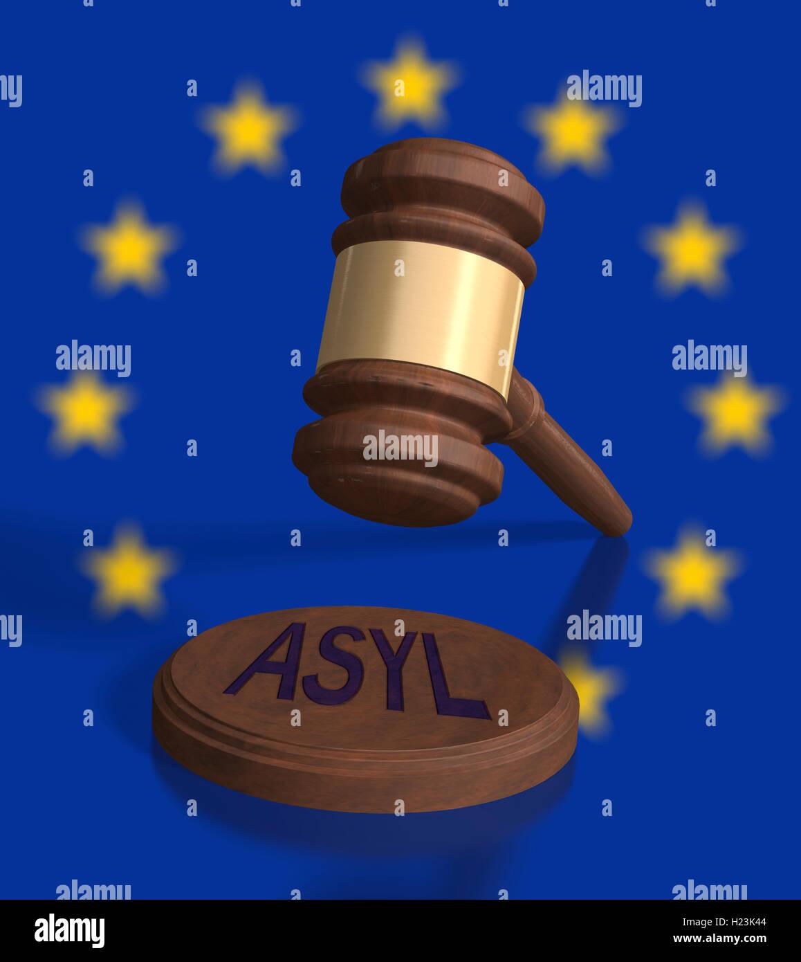 Gavel in front of EU stars, Asyl, asylum written on block - Stock Image