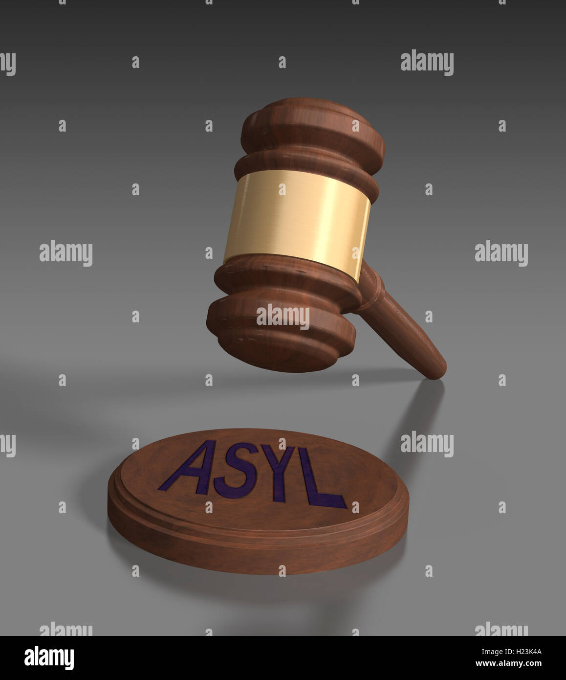 Gavel in front of grey background, Asyl, asylum written on block - Stock Image