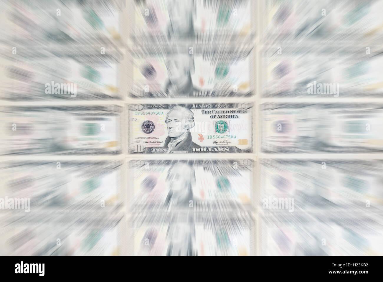 US dollar bills, 10 dollar bill - Stock Image