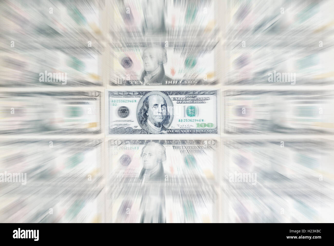 US dollar bills, 100 dollar bill, zoom effect - Stock Image