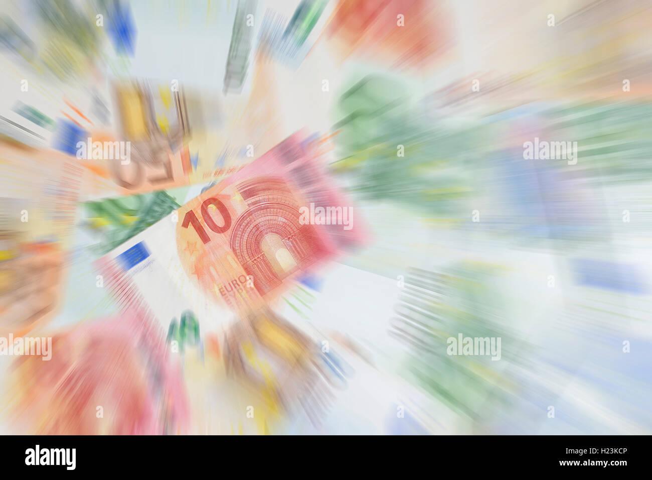 Various euro banknotes, 10 euros, zoom effect - Stock Image