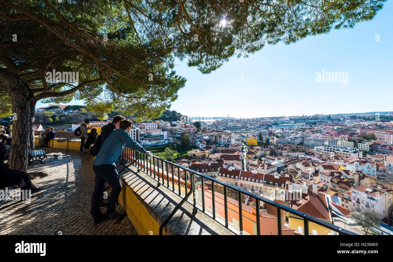 View of Lisbon, Graça viewpoint, Lisbon, Portugal - Stock Image