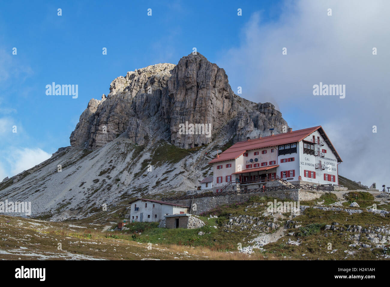 Hut at three peaks / Tre Cime di lavaredo / Drei Zinnen Hütte in the Italian Dolomites - Südtirol / Belluno - Stock Image