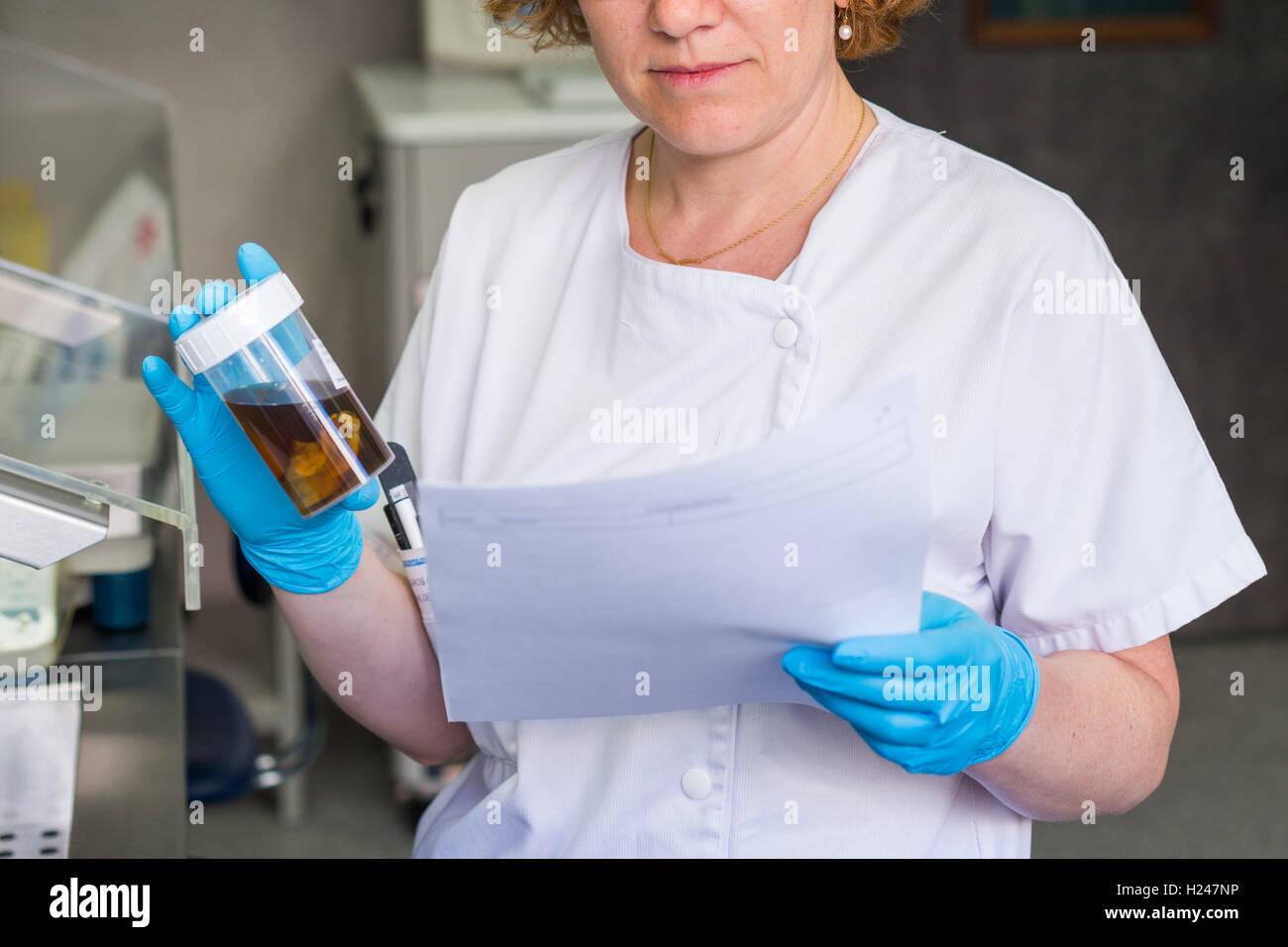 Anatomopathology diagnosis of a vesicle, Angouleme hospital laboratory, France. - Stock Image