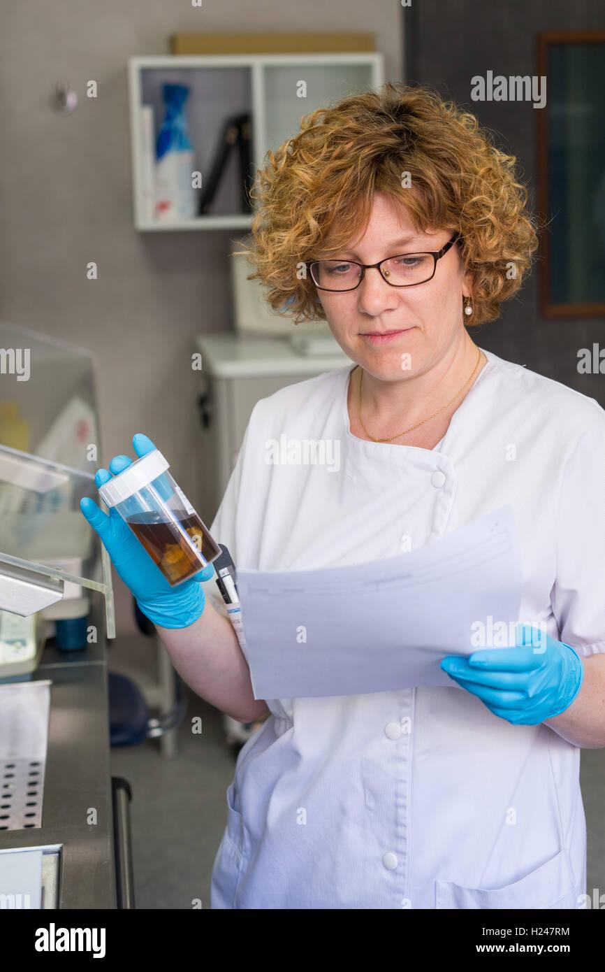 Anatomopathology diagnosis of a vesicle, Angouleme hospital laboratory, France. Stock Photo