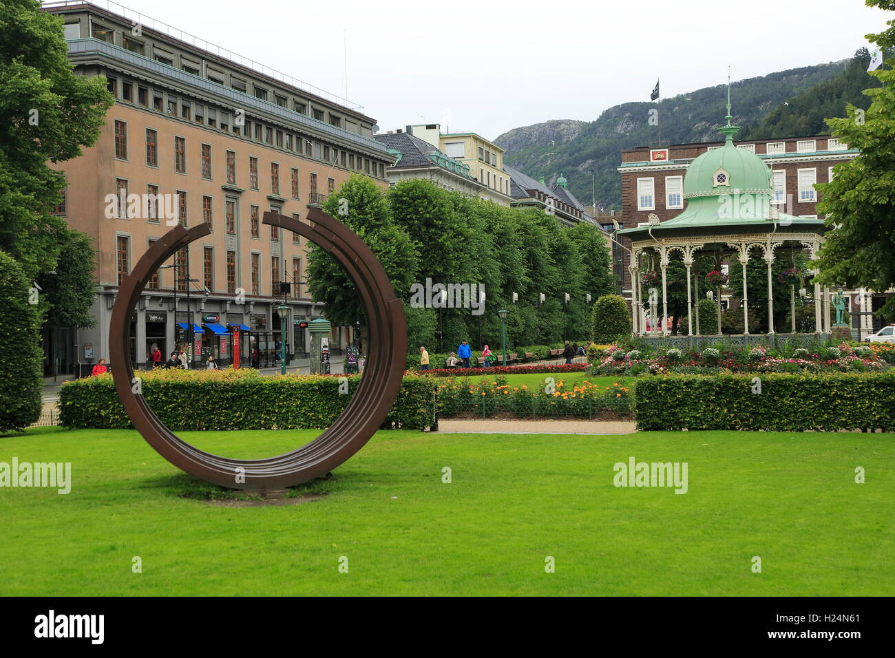 Bandstand park and buildings city centre Bergen, Norway - Stock Image