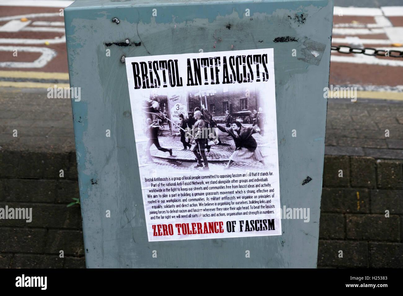 Around Bristol city and Harbour England UK  Bristol AntiFscists Poster - Stock Image