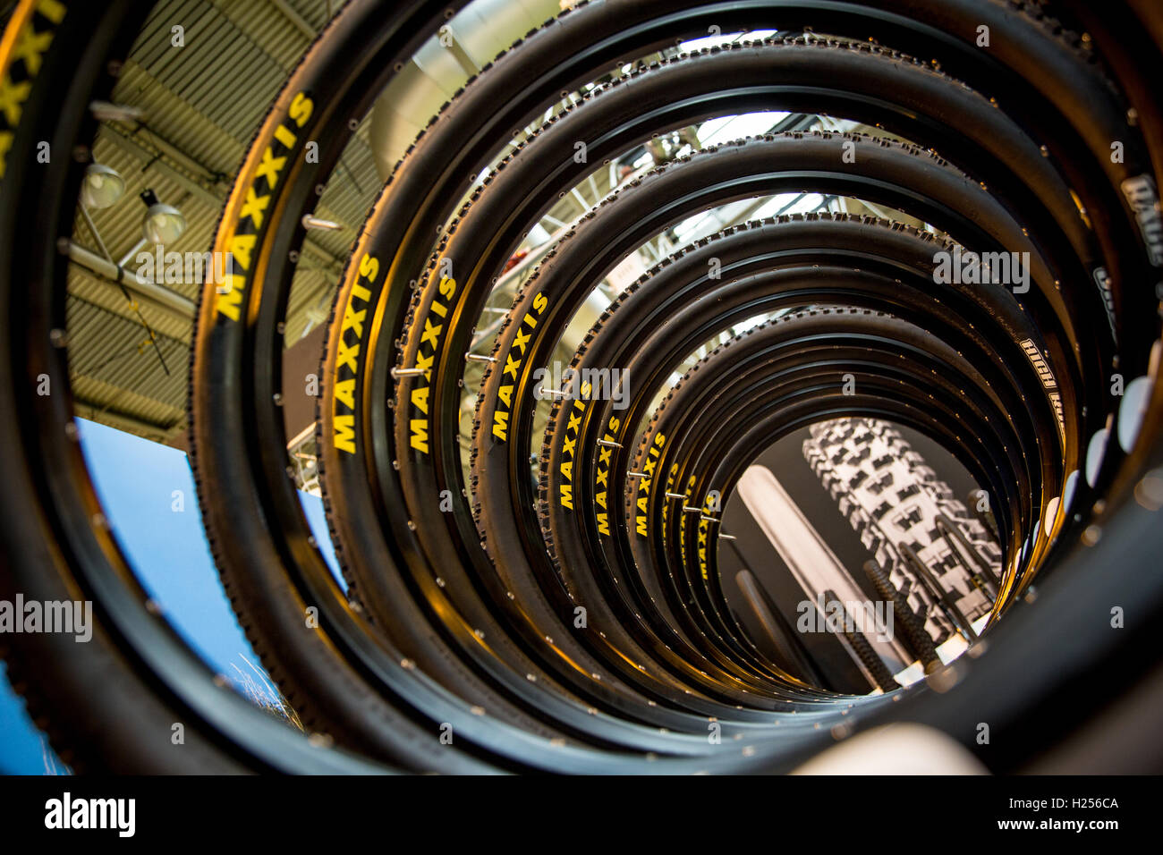 Birmingham, UK 24th Sep, 2016 Maxxis bike tyres on display on their stand Credit:  steven roe/Alamy Live News - Stock Image