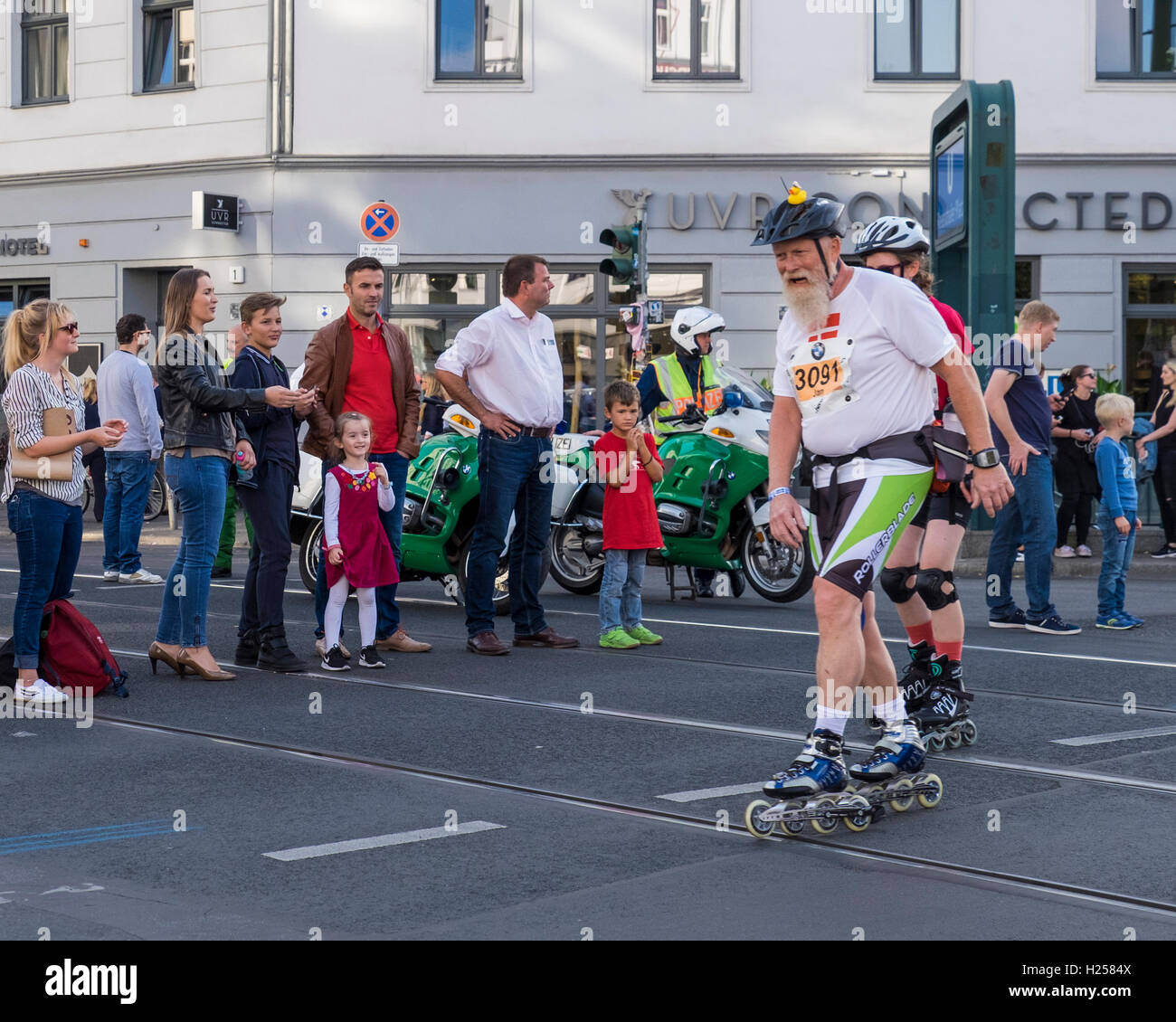 Berlin Germany, 24th September 2016. In-line skaters pass through Rosenthalerplatz during the annual In-line skating marathon Credit:  Eden Breitz/Alamy Live News Stock Photo