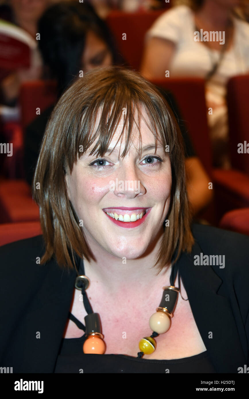Liverpool, UK. 24th September, 2016. Jess Phillips Chair of the Women's Parlimentary LAbours Party (PLP} SPeaking - Stock Image