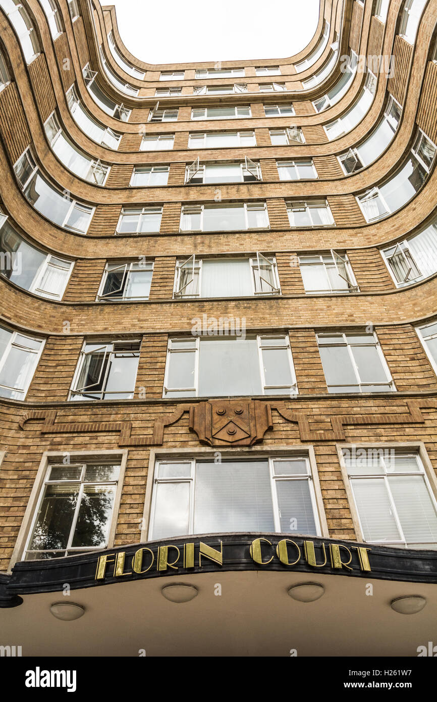View of the exterior of the Art Deco entrance to Florin Court, Charterhouse Square, London - Stock Image