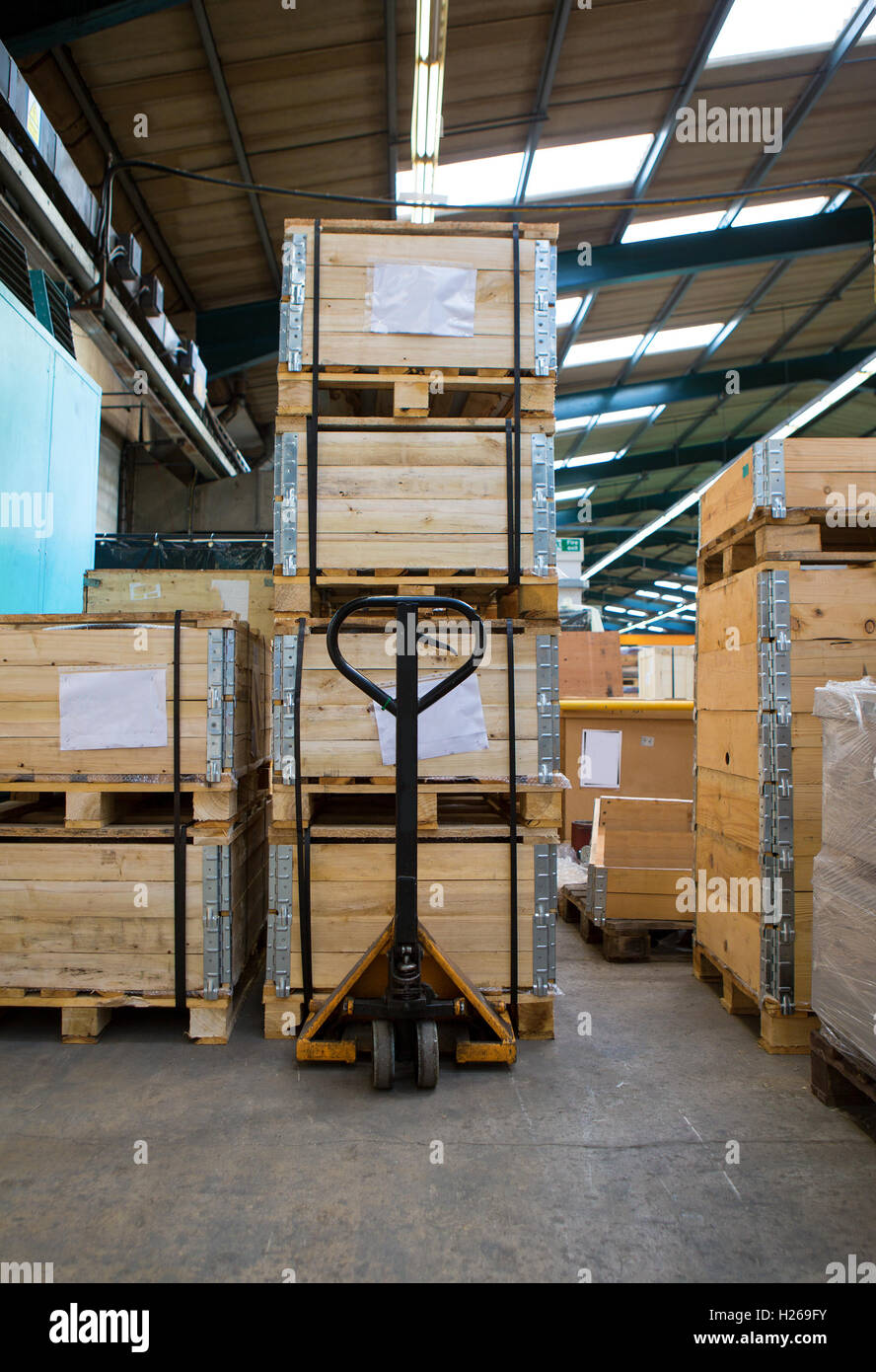 manual forklift pallet stacker truck equipment at warehouse stock