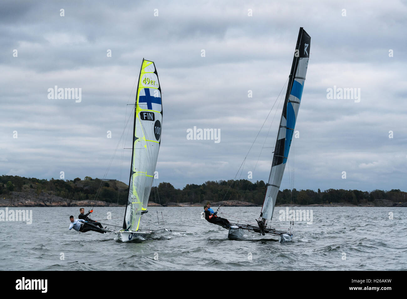 F18 and 49er sailing competition in Helsinki, Finland, Europe, EU - Stock Image
