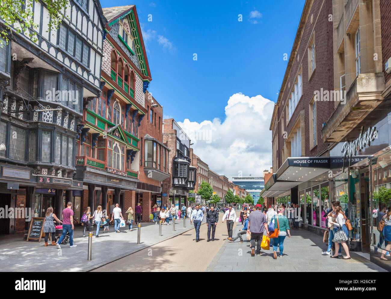 High street shops and historic buildings Exeter City centre Exeter Devon England UK GB EU Europe - Stock Image