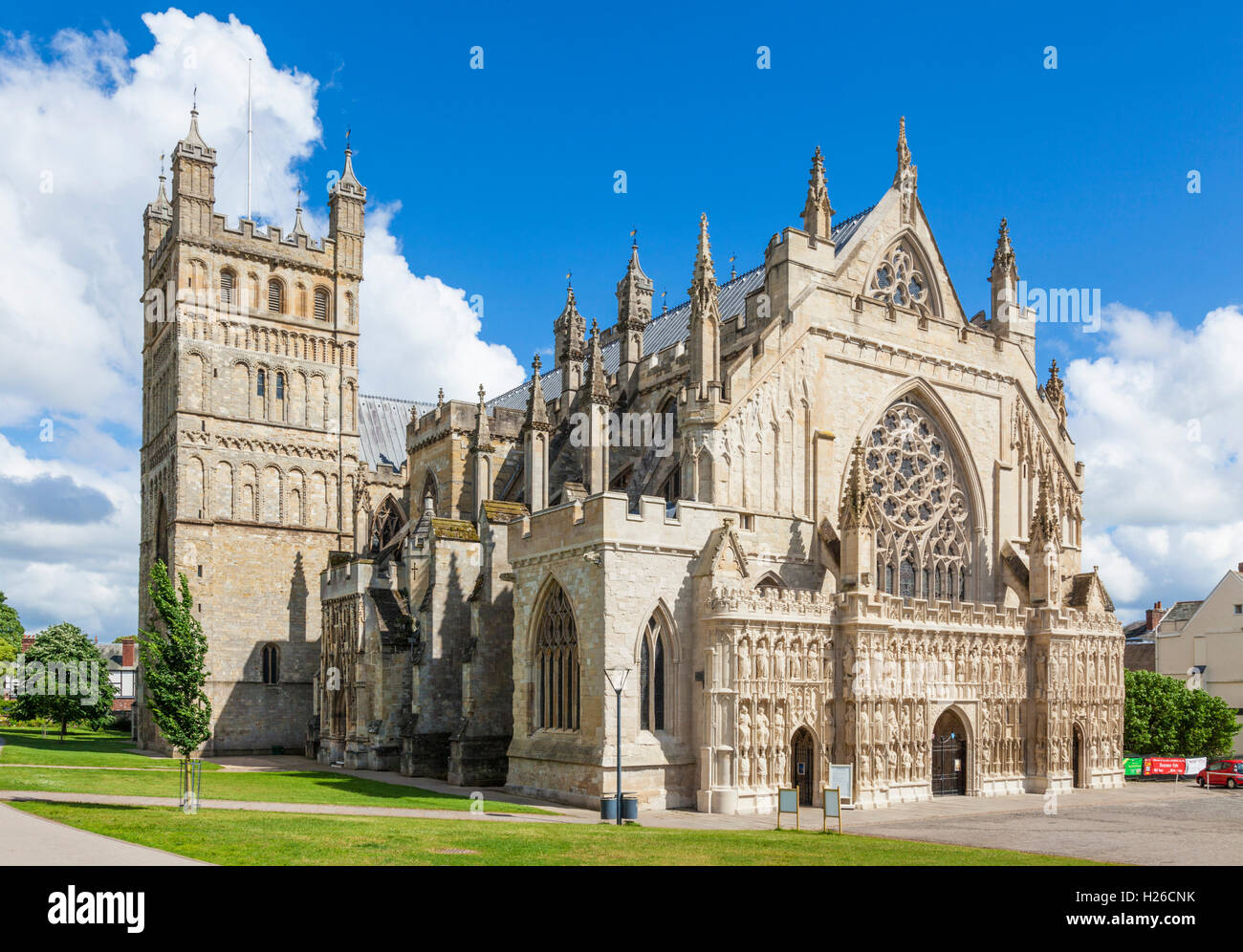 Exeter Cathedral exterior and Cathedral Green Exeter Devon England UK GB Europe EU - Stock Image