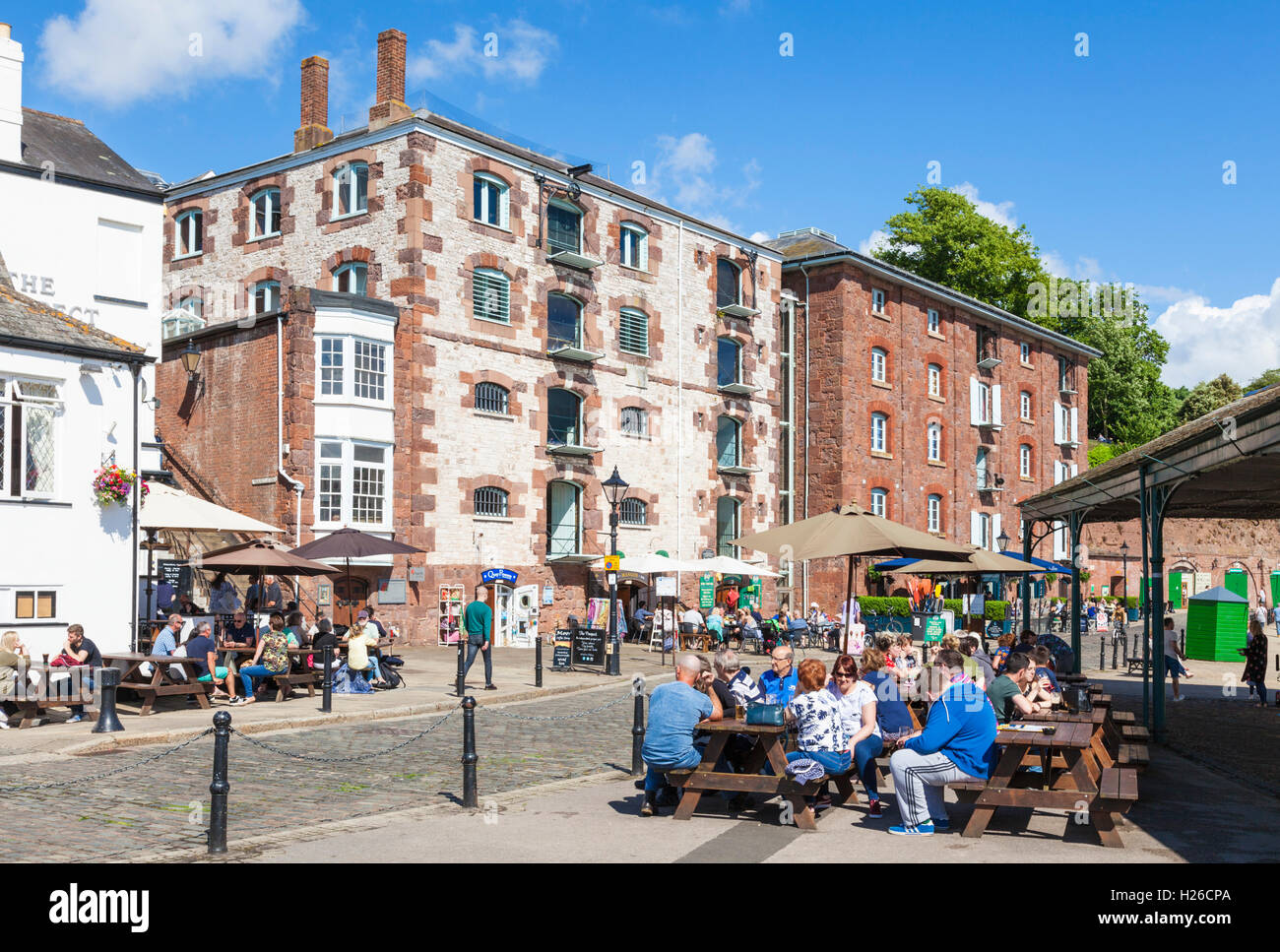 Shops and restaurants at Exeter Quay Exeter Devon England UK GB EU Europe - Stock Image