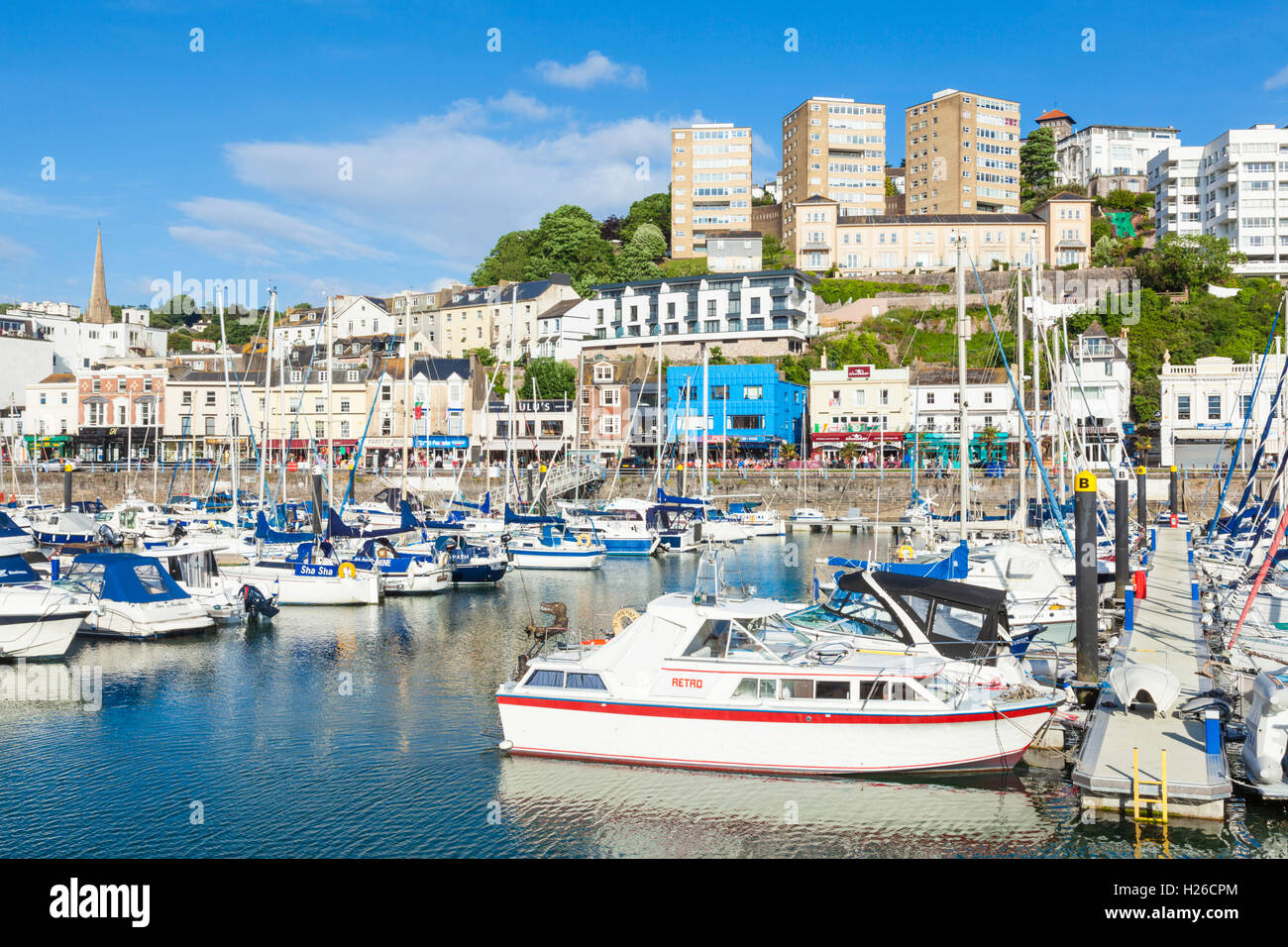 Torquay Marina and harbour Torquay Devon England UK GB Europe EU - Stock Image