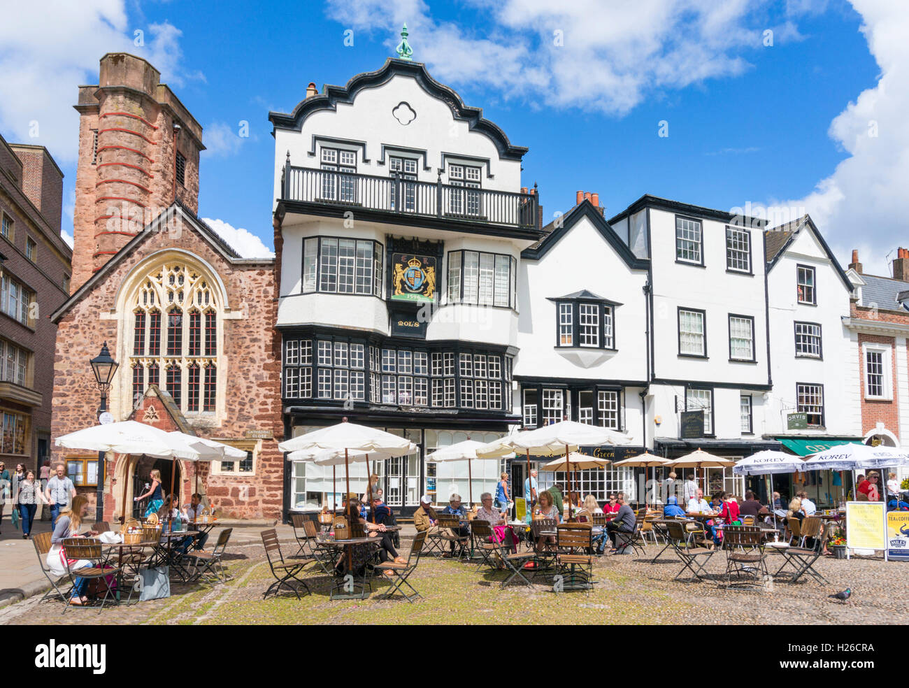 St Martins church and Mols Coffee house Cathedral Close Exeter Devon England UK GB EU Europe - Stock Image