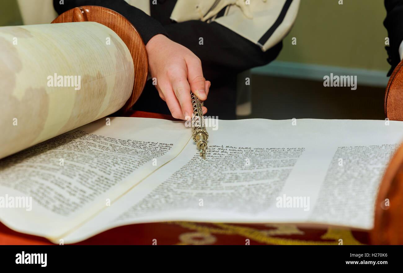 reading the Jewish Torah at Bar Mitzvah Bar Mitzvah Torah reading - Stock Image