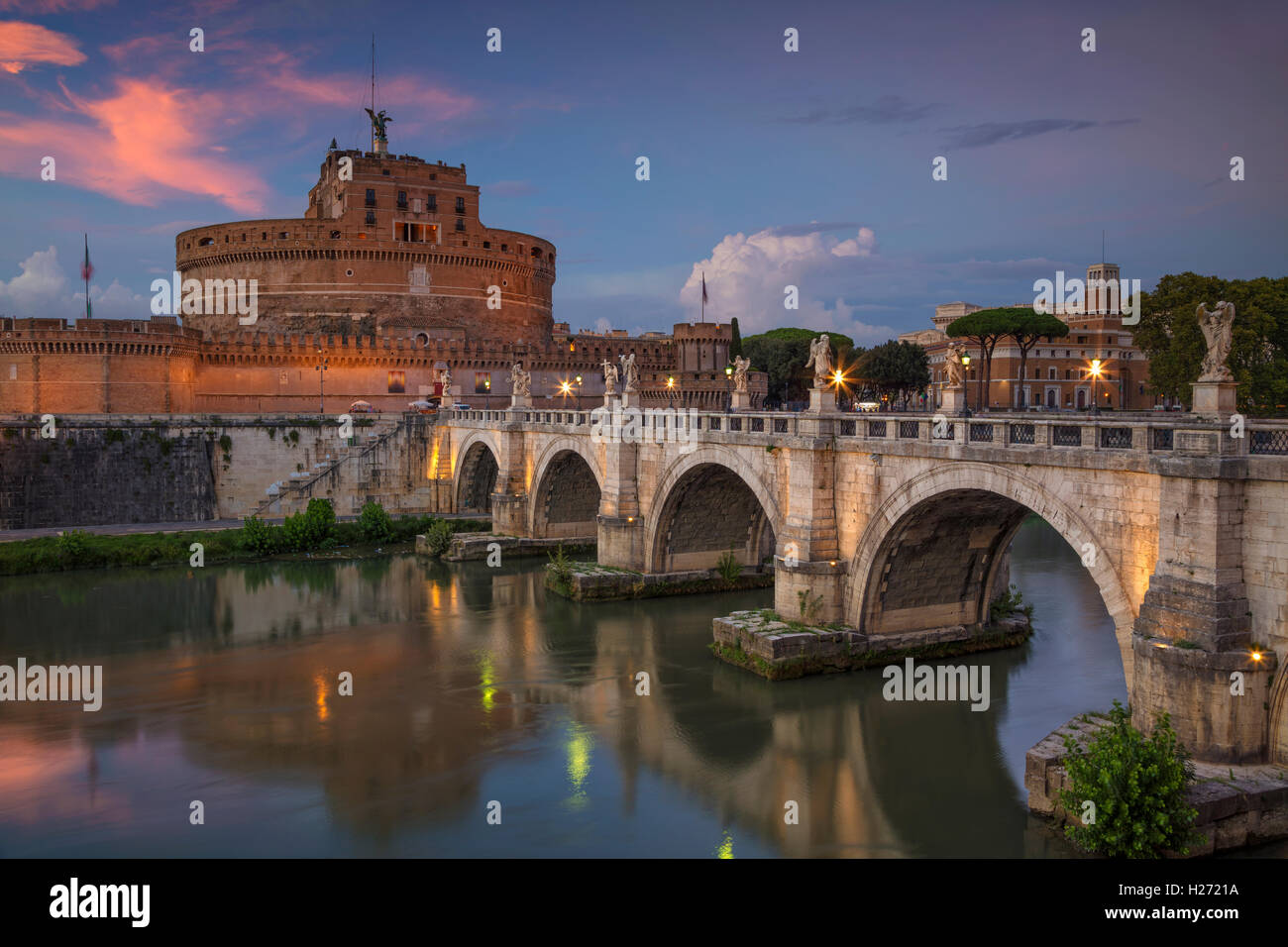 Rome. Image of the Castle of Holy Angel and Holy Angel Bridge over the Tiber River in Rome at sunset. - Stock Image