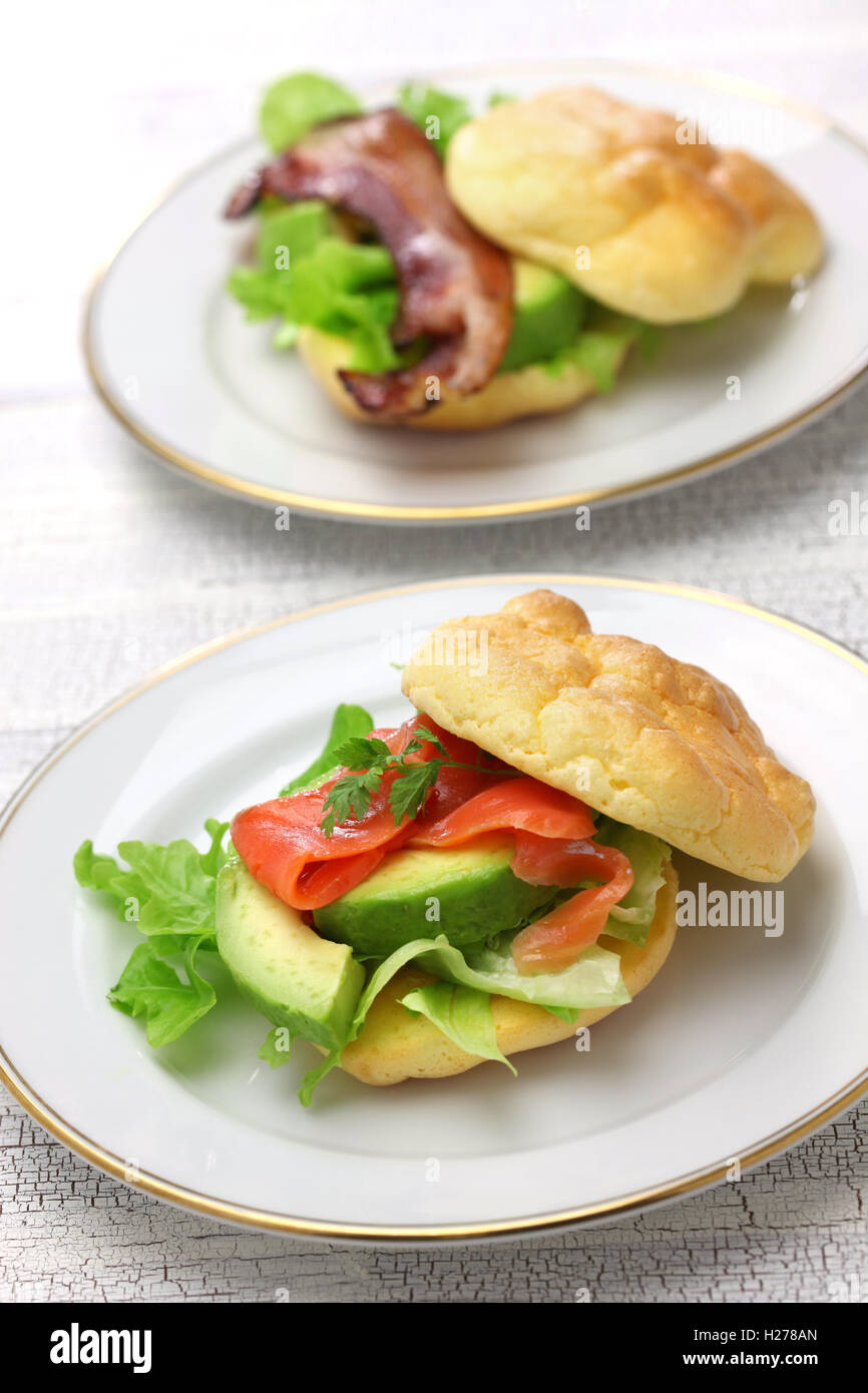 cloud bread is no carb bread. it made with eggs, cream cheese, cream of tartar. - Stock Image