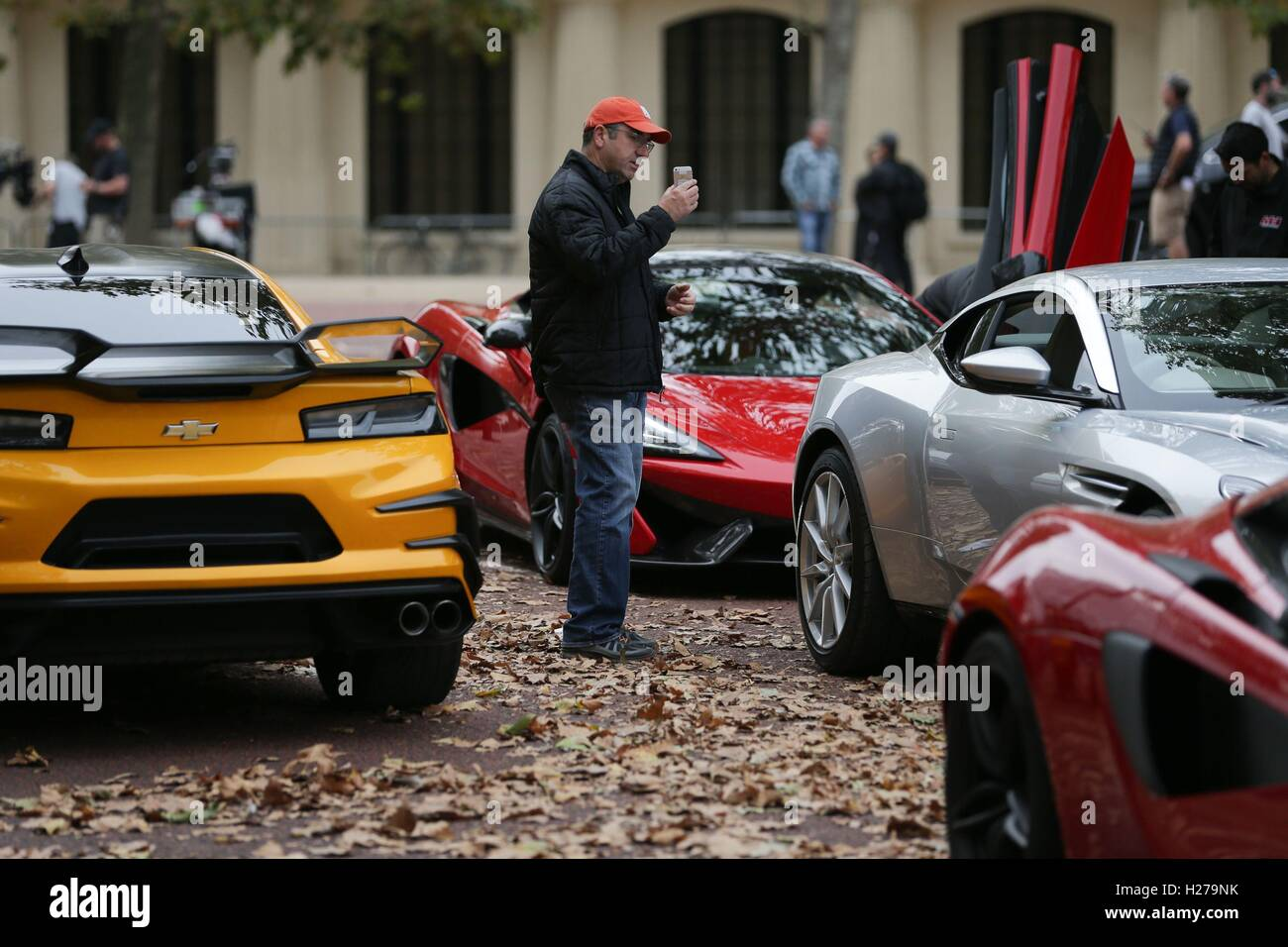 Chevrolet Camaro (left In Yellow), McLaren (centre In Red) And Aston Martin  DB11 (centre In Silver) Sports Cars During Filming Of The Film Transformers:  The ...