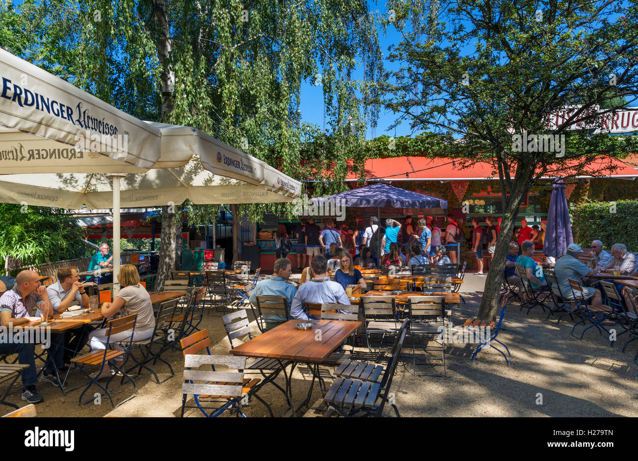 Beer garden in the Tiergarten, Berlin, Germany - Stock Image