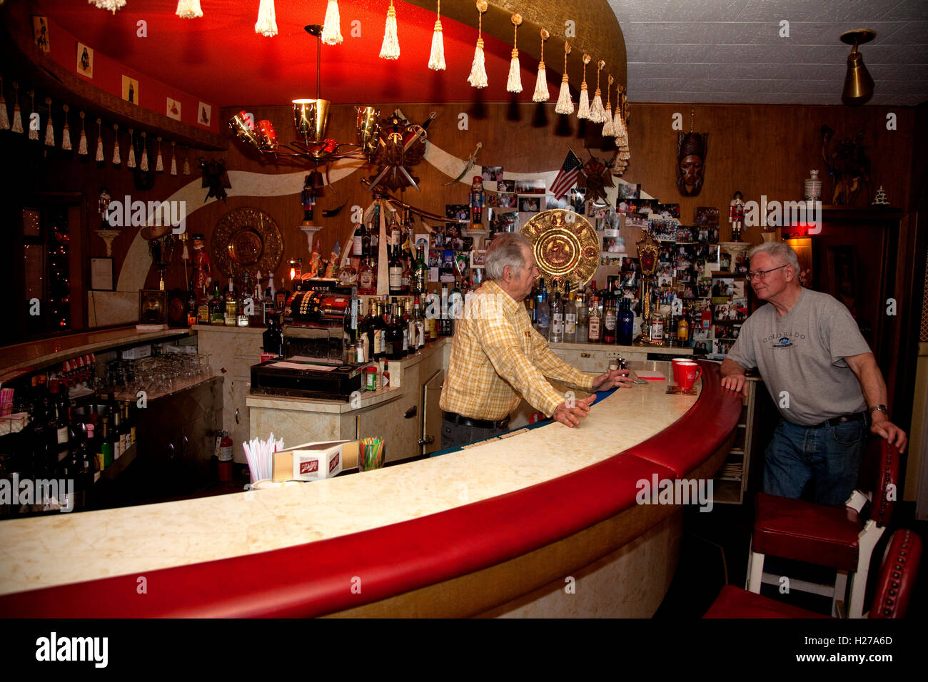Curved bar of the now shuttered iconic Turk's Inn Supper Club. Hayward Wisconsin WI USA - Stock Image