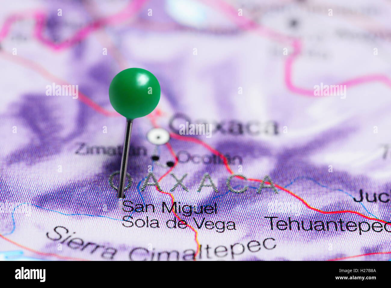 San Miguel Sola De Vega Pinned On A Map Of Mexico Stock Photo