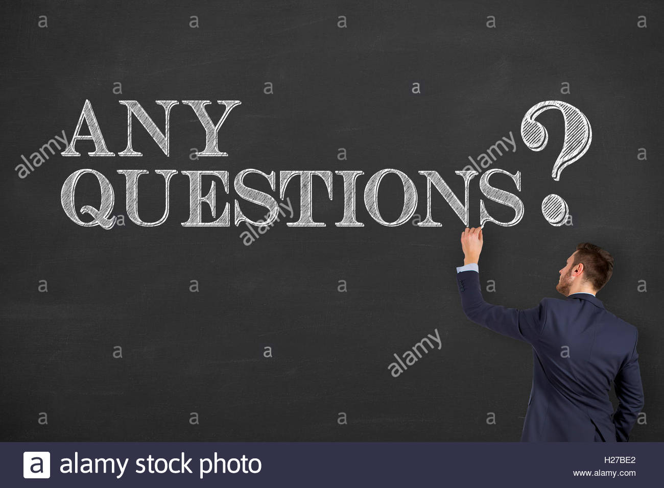Any Questions on Chalkboard - Stock Image
