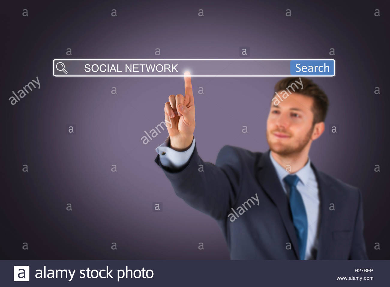 Social Network on Search Engine - Stock Image