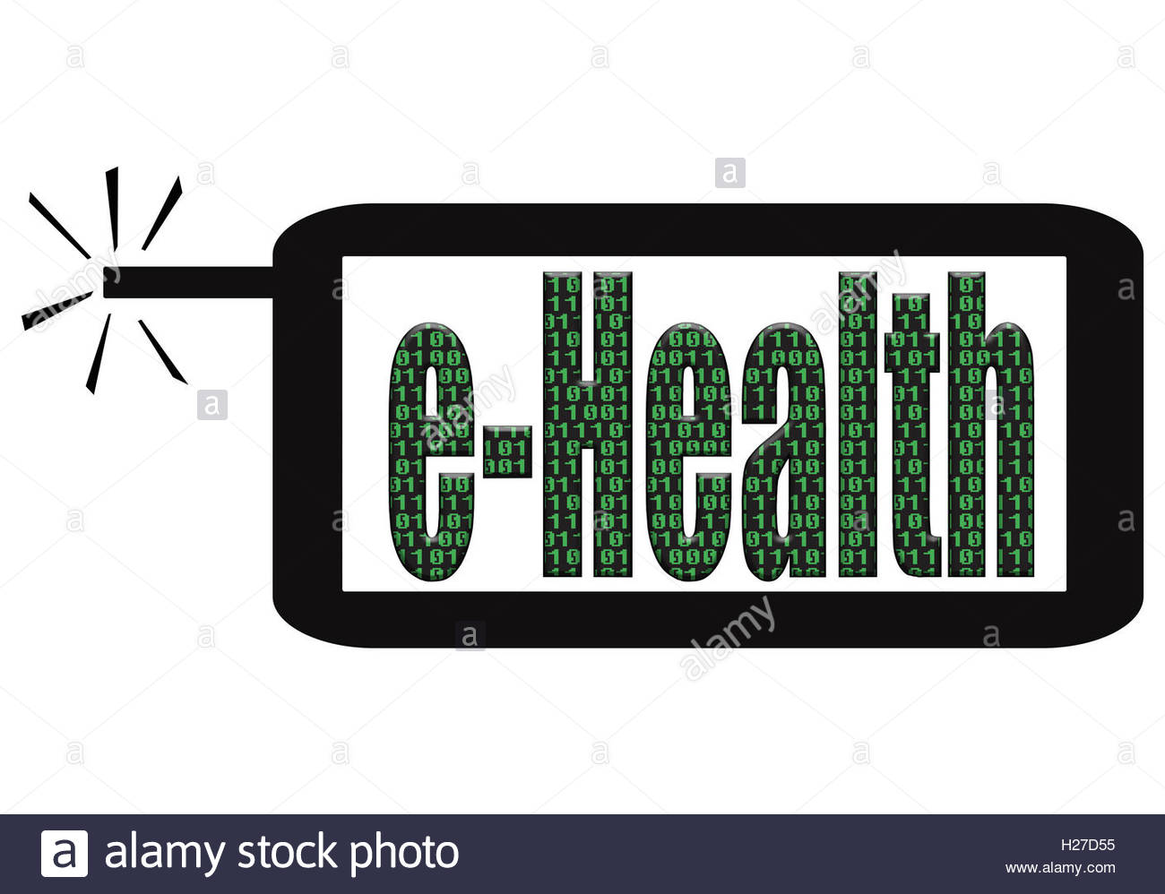 Digital illustration - App on smart phone. eHealth. Ehealth is medical practices backed up with electronic processes. - Stock Image