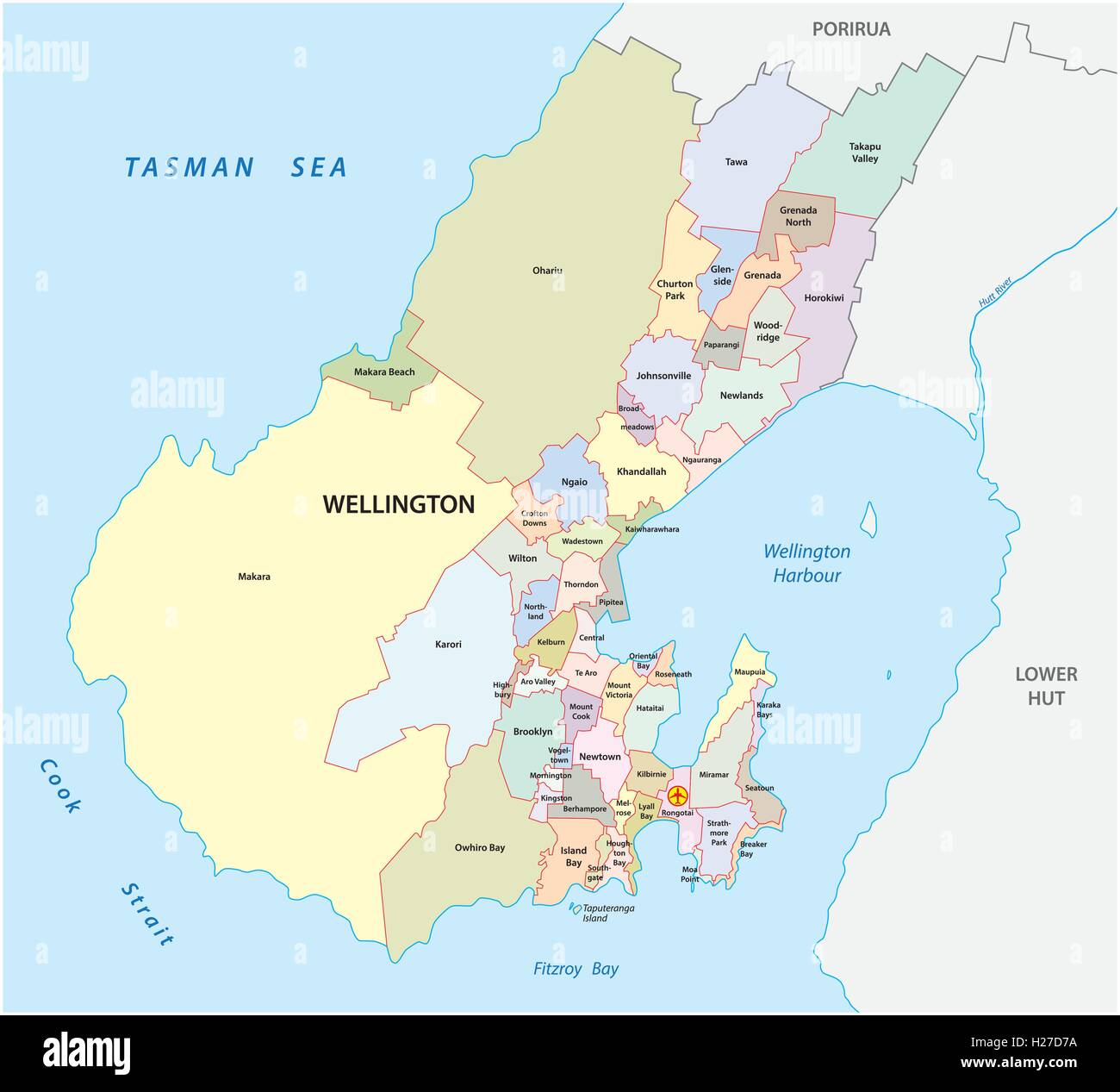 administrative map of New Zealands capital Wellington Stock Vector