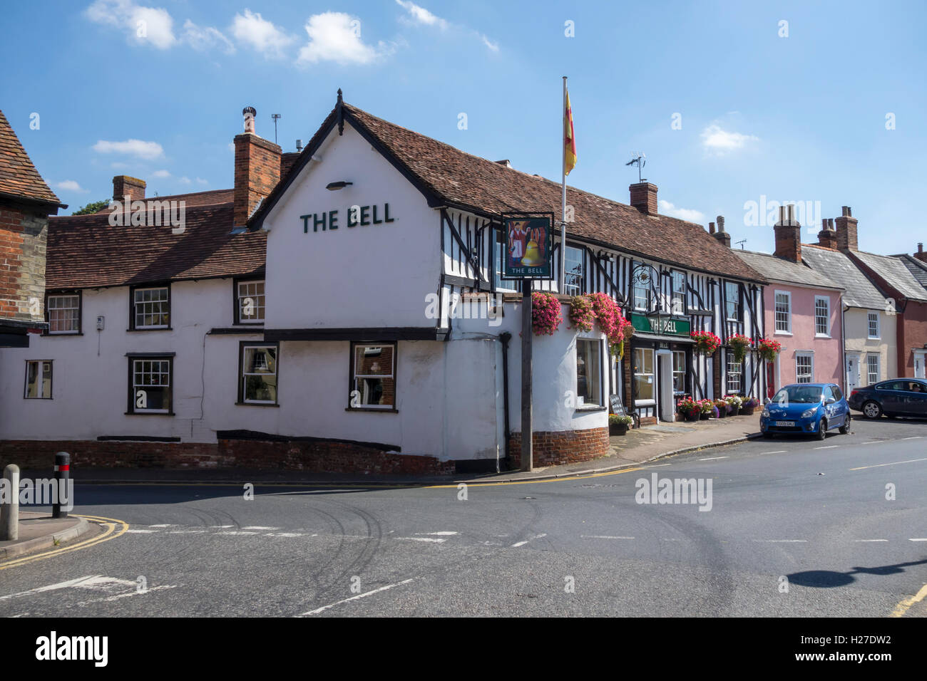 The Bell inn Clare Suffolk England 2016 - Stock Image