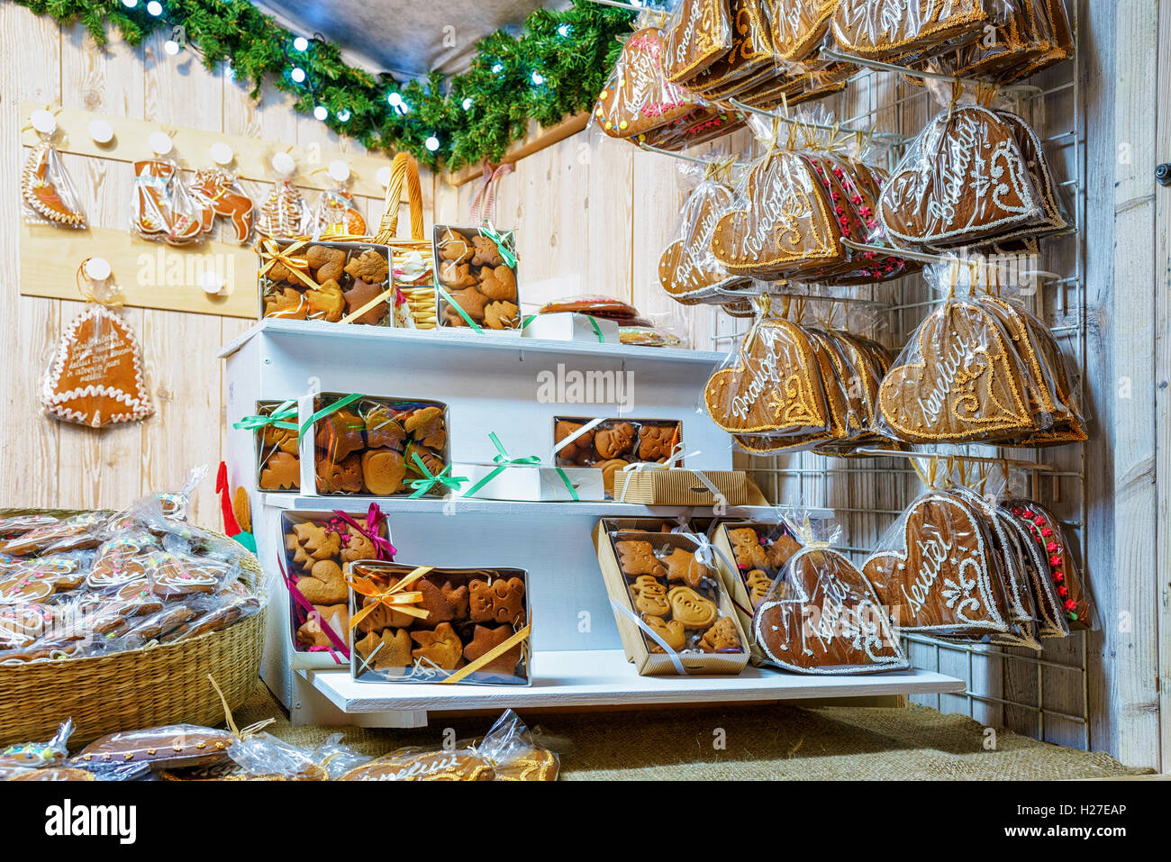 Various gingerbread goods which were sold at the Christmas Market in Vilnius, Lithuania. Sweets can be differently Stock Photo
