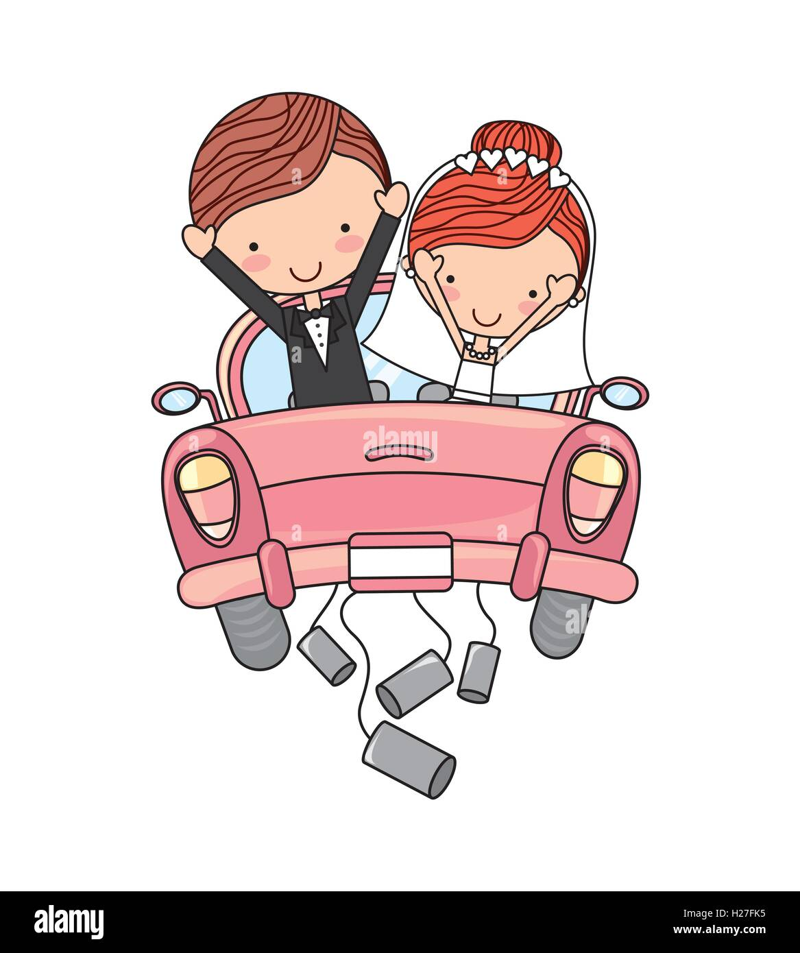 Just Married Couple Car Isolated Stock Vector Art