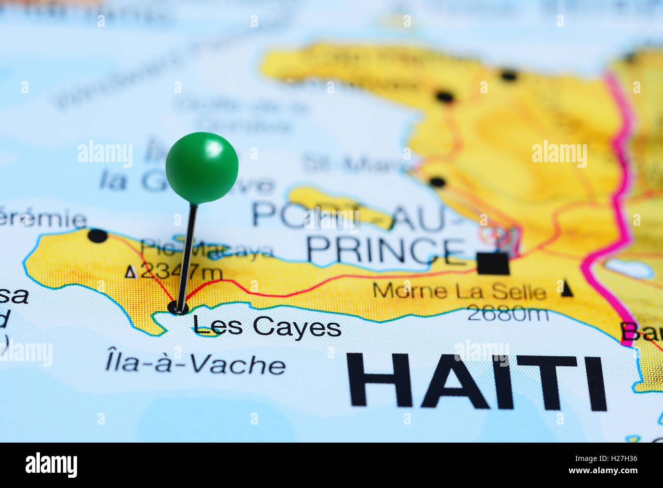 Les Cayes pinned on a map of Haiti Stock Photo 121868970 Alamy