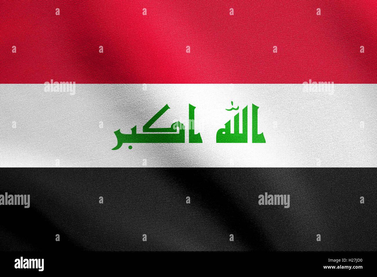 Iraqi national official flag. Irak patriotic symbol, element, background. Iraki banner. Flag of Iraq waving in the - Stock Image