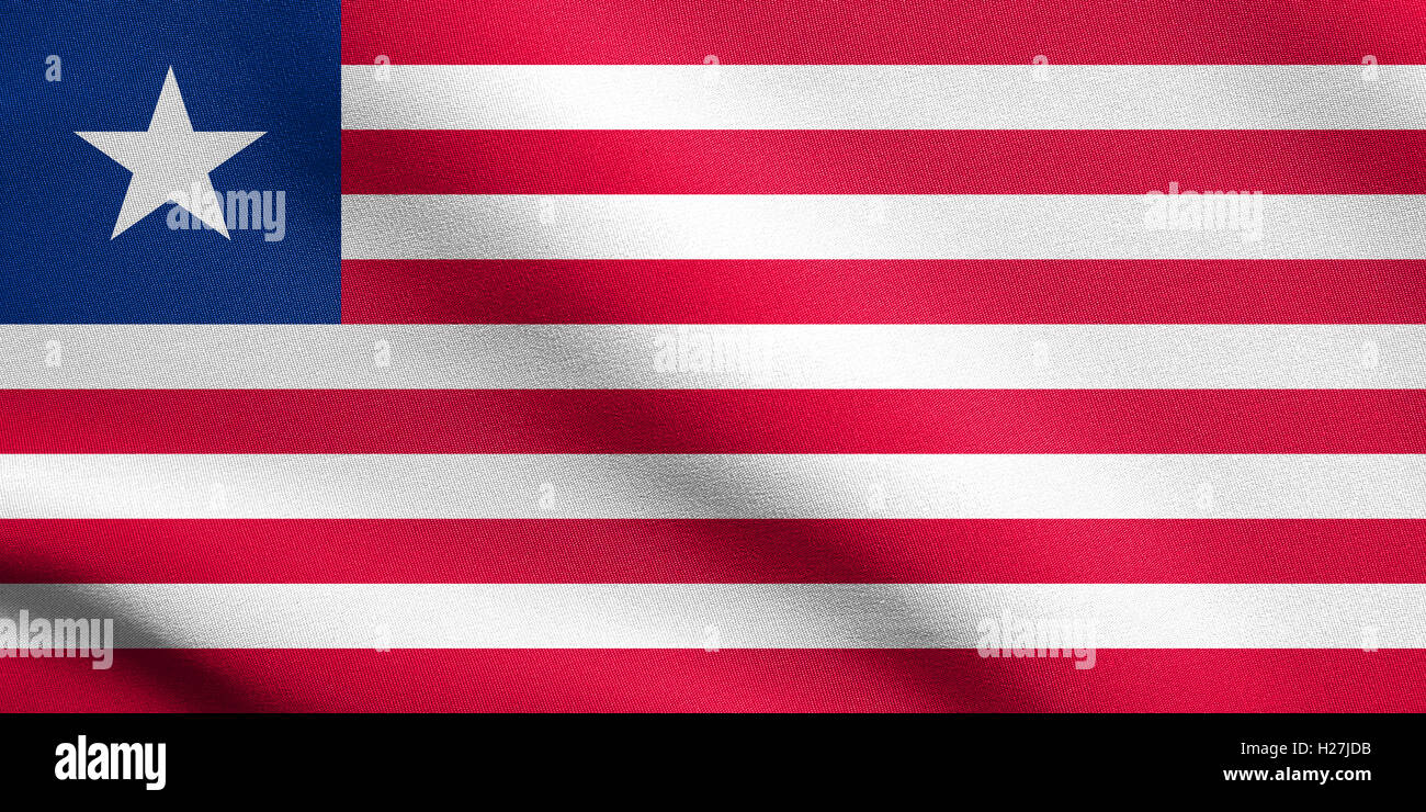 Liberian national official flag. African patriotic symbol, banner, element, background. Flag of Liberia waving in - Stock Image